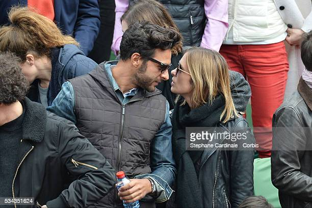 Maxime Nucci and Isabelle Ithurburu at Roland Garros on May 24 2016 in Paris France
