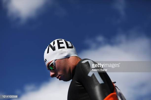 Maxime Pepijn Smits of the Netherlands walks onto the start platform ahead of the Men's 10km race during the Open Water Swimming on Day Eight of the...