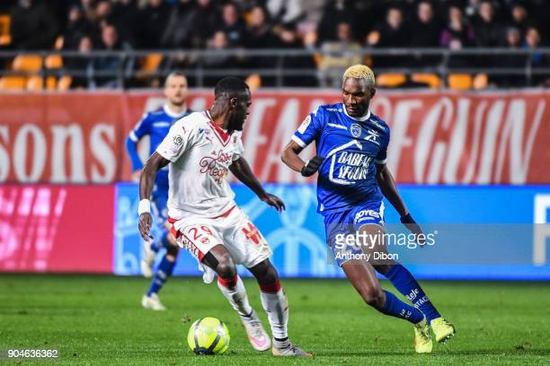 Maxime Poundje of Bordeaux and Adama Niane of Troyes during the Ligue 1 match between Troyes and Bordeaux on January 13 2018 in Troyes France