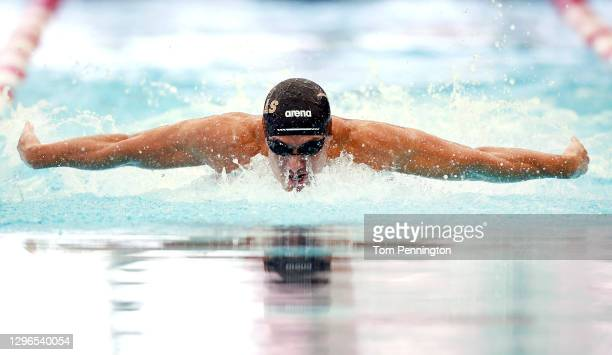 Maxime Rooney competes in the Men's 100 Meter Butterfly heats on Day Two of the TYR Pro Swim Series at San Antonio on on January 15, 2021 in San...