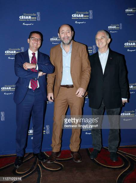 Maxime Saada Kad Merad and Alain Terzian attend the Cesar 2019 Nominee Luncheon at Le Fouquet's on February 03 2019 in Paris France