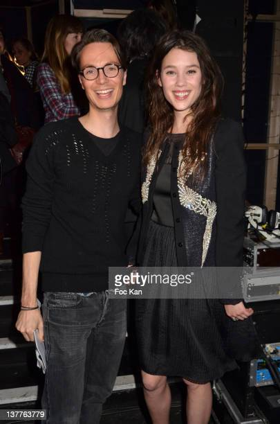 Maxime Simoens and Astrid Berges Frisbey attend the Maxime Simoens Spring/Summer 2012 HauteCouture show as part of Paris Fashion Week at the BETC...