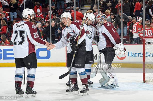 Maxime Talbot, Tyson Barrie, Jan Hejda and goalie Semyon Varlamov of the Colorado Avalanche celebrate after defeating the Chicago Blackhawks 4-1...