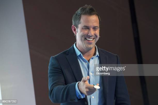 Maxime Veron director of product marketing at Nest Labs Inc holds a Nest Tag as he speaks during an event in San Francisco California US on Wednesday...