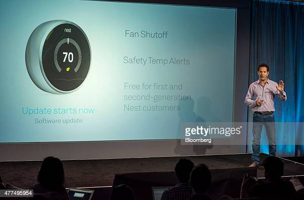 Maxime Veron director of product marketing at Nest Labs Inc speaks during a Nest Labs event in San Francisco California US on Wednesday June 17 2015...