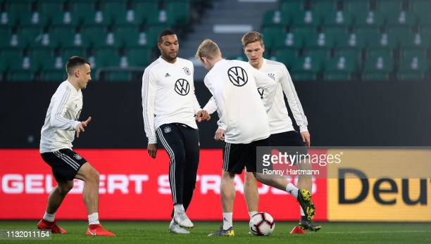 Maximilan Eggestein Jonathan Tah Julian Brandt and Marcel Halstenberg of the German National Team during a training session on March 22 2019 in...