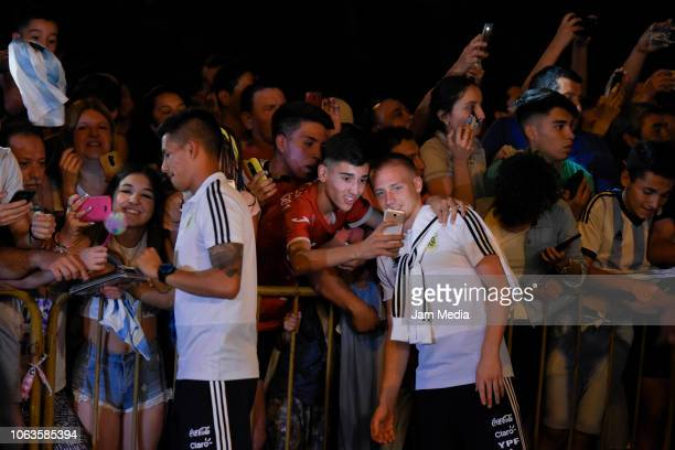 Maximilano Meza and Santiago Ascasibar of Argentina take pictures with fans as arriving to Diplomatic Hotel on November 19 2018 in Mendoza Argentina...