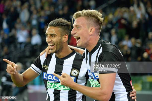 Maximiliam Lopez of Udinese Calcio celebrates after scoring his team's third during the Serie A match between Udinese Calcio and UC Sampdoria at...