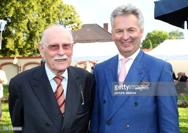 Maximilian Andreas Margrave of Baden and Friedrich Duke of Wuerttemberg posing during a reception on the evening before the 80th birthday of Herzog...