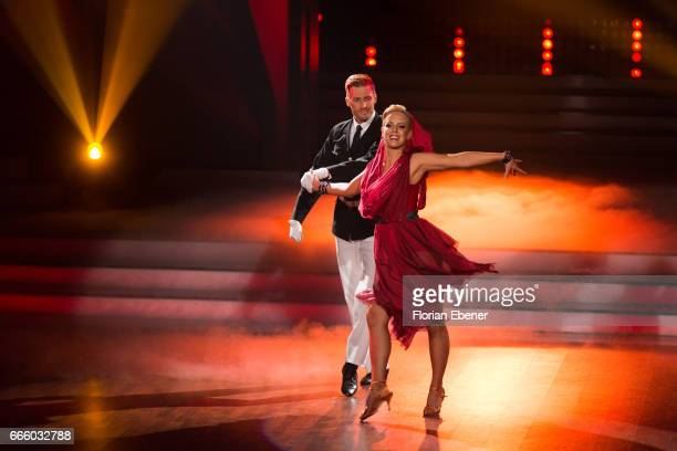 Maximilian Arland and Isabel Edvardsson perform on stage during the 4th show of the tenth season of the television competition 'Let's Dance' on April...