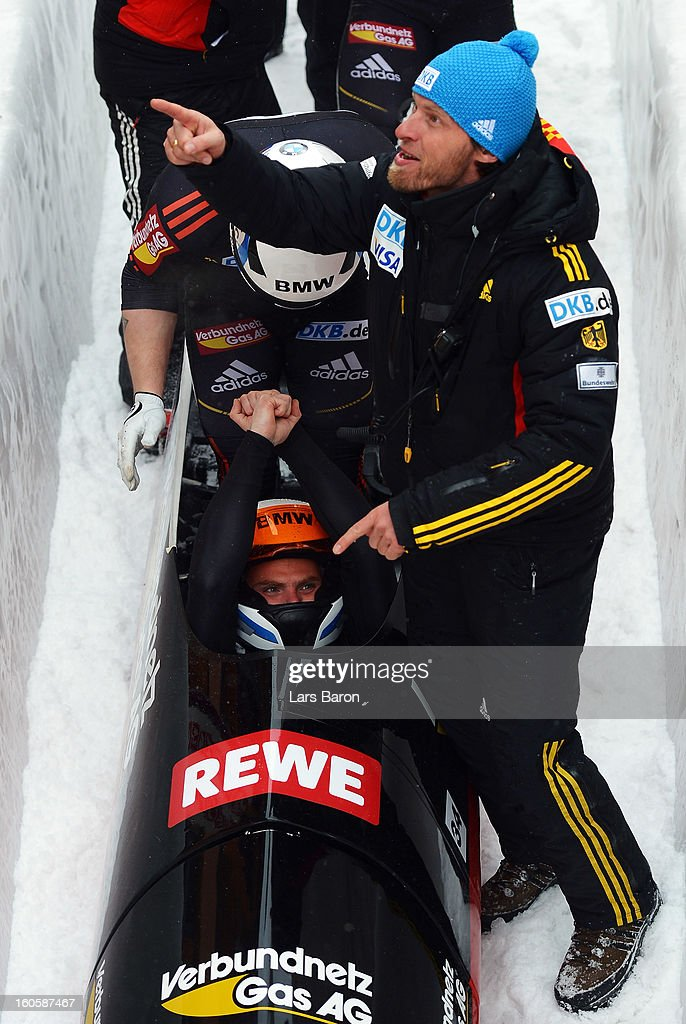 Maximilian Arndt of Germany cellebrates after the Four Men Bobsleigh final heat of the IBSF Bob & Skeleton World Championship at Olympia Bob Run on February 3, 2013 in St Moritz, Switzerland.