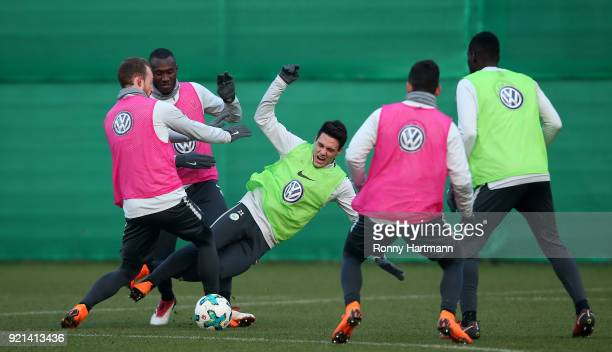 Maximilian Arnold Josuha Guilavogui Josip Brekalo Renato Steffen and Riechedly Bazoer of Wolfsburg compete during a training session of VfL Wolfsburg...
