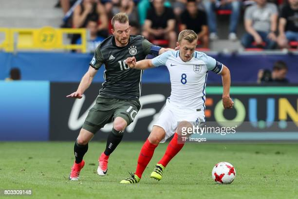 Maximilian Arnold of Germany and James WardProwse of England battle for the ball during the UEFA European Under21 Championship Semi Final match...