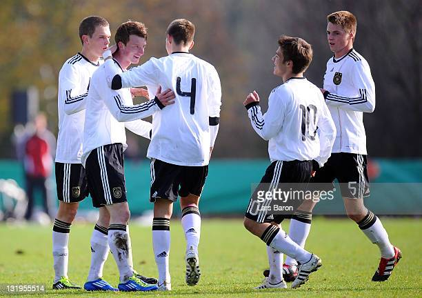 Maximilian Arnold of germany celebrates with team mates after scoring his teams first goal during the U18 international friendly match between...