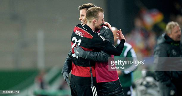 Maximilian Arnold of Germany hugs Julian Weigl of Germany after scoring his teams second goal during the 2017 UEFA European U21 Championships...