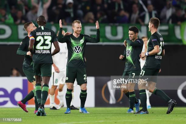 Maximilian Arnold of VfL Wolfsburg celebrates after he scores the first goal during the UEFA Europa League group I match between VfL Wolfsburg and FC...