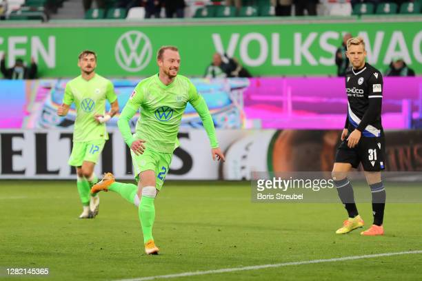 Maximilian Arnold of Vfl Wolfsburg celebrates after scoring his sides second goal during the Bundesliga match between VfL Wolfsburg and DSC Arminia...