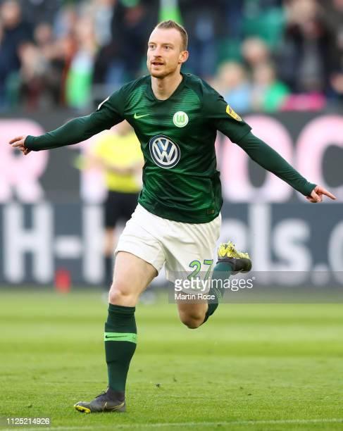 Maximilian Arnold of VfL Wolfsburg celebrates after scoring his team's first goal during the Bundesliga match between VfL Wolfsburg and 1. FSV Mainz...