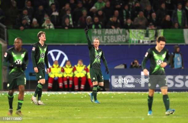 Maximilian Arnold of VfL Wolfsburg celebrates after scoring his team's second goal during the Bundesliga match between VfL Wolfsburg and Borussia...