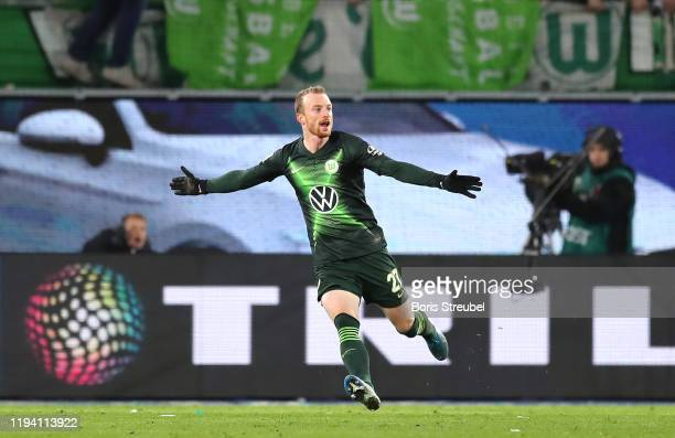 Maximilian Arnold of VfL Wolfsburg celebrates after scoring his team's second goal during the Bundesliga match between VfL Wolfsburg and Borussia...