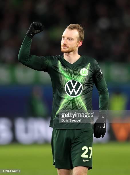 Maximilian Arnold of VfL Wolfsburg celebrates victory after the Bundesliga match between VfL Wolfsburg and Borussia Moenchengladbach at Volkswagen...