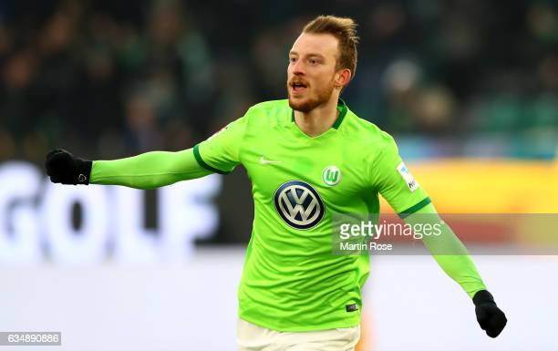 Maximilian Arnold of Wolfsburg celebrates after scoring his teams first goal during the Bundesliga match between VfL Wolfsburg and TSG 1899...