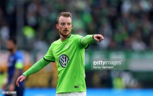 Maximilian Arnold of Wolfsburg gestures during the Bundesliga match between VfL Wolfsburg and SV Darmstadt 98 at Volkswagen Arena on March 18 2017 in...