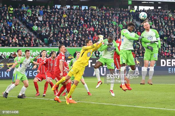 Maximilian Arnold of Wolfsburg heads the ball during the Bundesliga match between VfL Wolfsburg and FC Bayern Muenchen at Volkswagen Arena on...