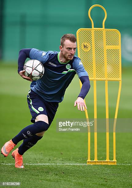 Maximilian Arnold of Wolfsburg runs a drill during a training session ahead of the UEFA Champions League Quarter Final First Leg match against Real...