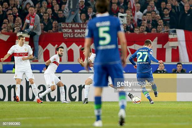 Maximilian Arnold of Wolfsburg scores the opening goal during the Bundesliga match between VfB Stuttgart and VfL Wolfsburg at Mercedes-Benz Arena on...