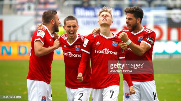 Maximilian Bauer Dominik Stahl Finn Porath and Stefan Schimmer of Unterhaching celebration the Goal 12 for Unterhaching during the 3 Liga match...