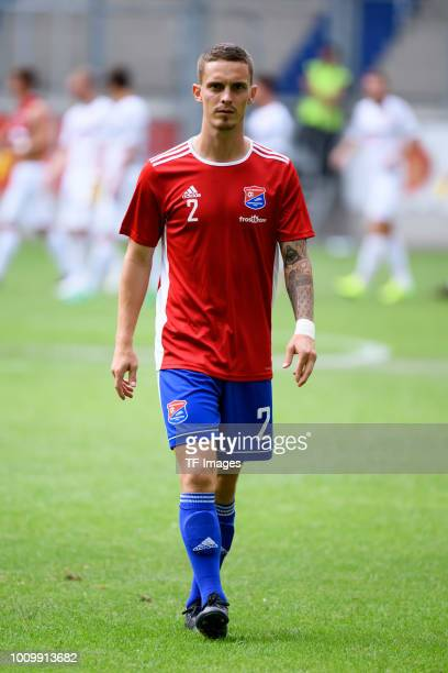 Maximilian Bauer of Haching looks on during the 3 Liga match between KFC Uerdingen 05 and SpVgg Unterhaching at GrotenburgStadion on July 29 2018 in...