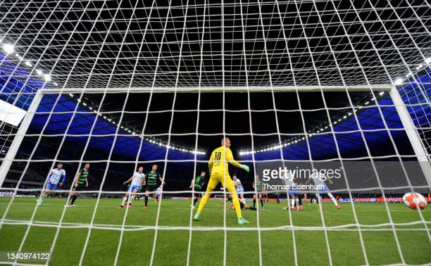 Maximilian Bauer of SpVgg Greuther Fuerth scores an own goal, the second goal for Hertha Berlin during the Bundesliga match between Hertha BSC and...