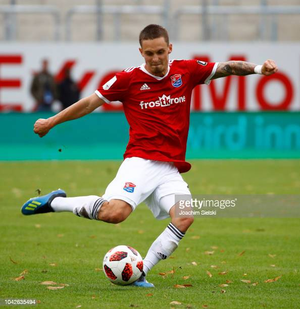 Maximilian Bauer of Unterhaching during the 3 Liga match between SV Meppen and SpVgg Unterhaching at HaenschArena on September 22 2018 in Meppen...