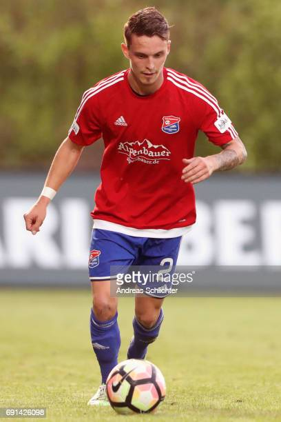 Maximilian Bauer of Unterhaching during the Third League Playoff leg two match between SV Elversberg and SpVgg Unterhaching at Ursapharmarena on May...