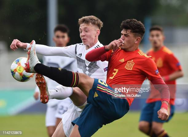 Maximilian Beier of Germany and Javi Lopez of Spain during the UEFA Under 17 European Championship Group D football match between Germany and Spain...