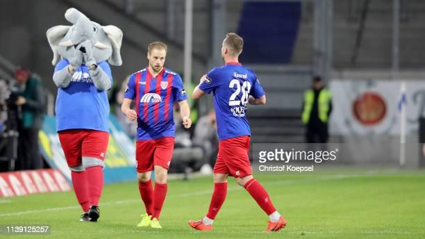 Maximilian Beister of Krefeld celebrates the first goal with Manuel Konrad of Krefeld during the 3 Liga match between KFC Uerdingen 05 and 1 FC...