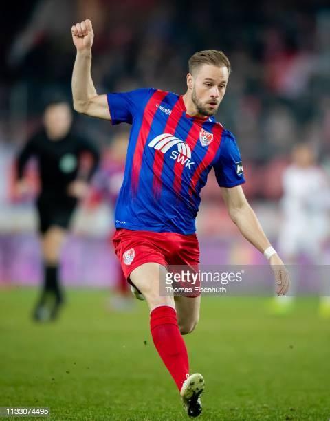 Maximilian Beister of Uerdingen in action during the 3 Liga match between Hallescher FC and KFC Uerdingen 05 at ErdgasSportpark on March 01 2019 in...