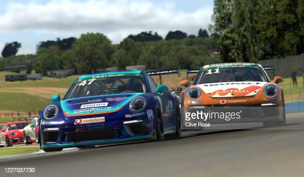 Maximilian Benecke of Germany and Team Redline clashes with Alejandro Sanchez of Spain and MSI eSports and loses position during the feature race in...