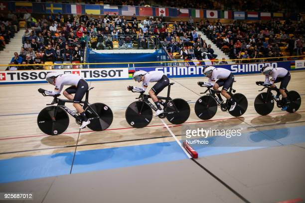 Maximilian BeyerFelx GrossTheo RenhardtKersten Thiele of Men`s team pursuit compete at The UCI World Cycling Championships in Apeldoorn on February...