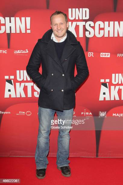 Maximilian Brueckner attends the premiere of the film 'Und Aektschn' at City Kino on January 30 2014 in Munich Germany