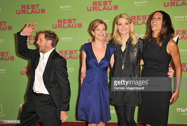 Maximilian Brueckner, Mira Bartuschek, Martina Hill and Melanie Winiger attend the Germany Premiere 'Resturlaub' at the Mathaeser Filmpalast on...