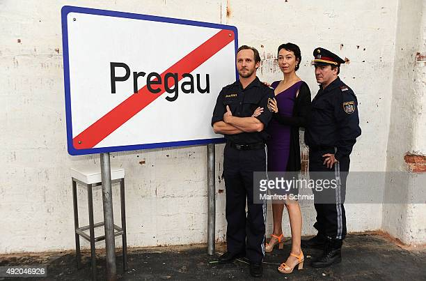 Maximilian Brueckner Ursula Strauss and Robert Palfrader pose for the film 'Pregau' at Sargfabrik on October 9 2015 in Vienna Austria