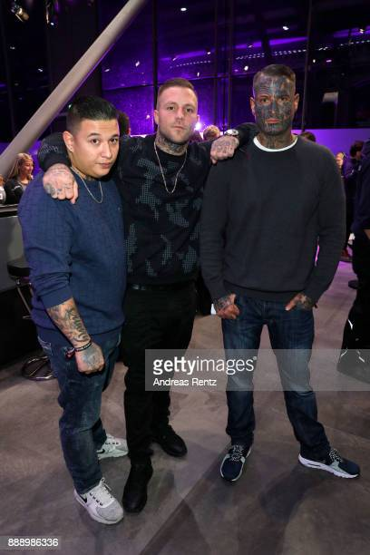 Maximilian Diehn with band Kontra K attend the 1Live Krone radio award at Jahrhunderthalle on December 07 2017 in Bochum Germany