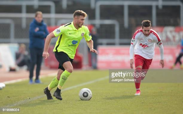 Maximilian Dittgen of Wiesbaden controls the ball during the 3 Liga match between SC Fortuna Koeln and SV Wehen Wiesbaden at Suedstadion on February...