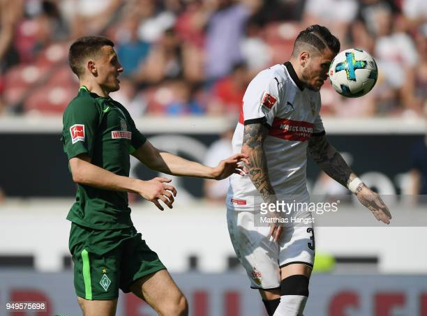 Maximilian Eggestein of Bremen and Daniel Ginczek of Stuttgart compete for the ball during the Bundesliga match between VfB Stuttgart and SV Werder...