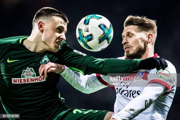 Maximilian Eggestein of Bremen fights for the ball with Aaron Hunt of Hamburg during the Bundesliga match between SV Werder Bremen and Hamburger SV...