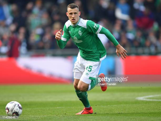 Maximilian Eggestein of Bremen in action during the Bundesliga match between SV Werder Bremen and Sport-Club Freiburg at Weserstadion on April 13,...