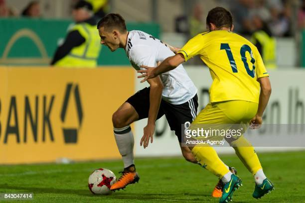 Maximilian Eggestein of Germany and Ardit Gashi of Kosovo in action during the U21 UEFA 2018 EM Qualifying match between Germany and Kosovo at the...