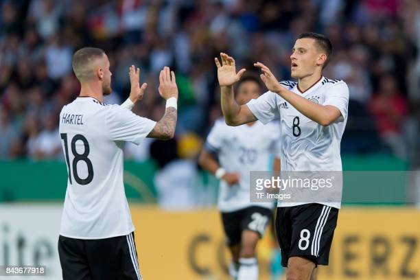 Maximilian Eggestein of Germany celebrates after scoring his team`s first goal during the U21 UEFA 2018 EM Qualifying match between Germany and...